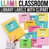 Classroom Library Labels with Pictures - EDITABLE, Llama Classroom Decor