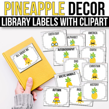 Classroom Library Labels with Pictures - EDITABLE, Pineapple Classroom Decor