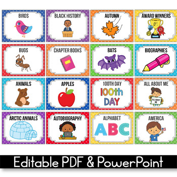 Classroom Library Labels with Pictures - EDITABLE, Polka Dot Classroom Decor