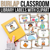 Classroom Library Labels with Pictures - EDITABLE, Rustic Classroom Decor