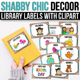 Classroom Library Labels with Pictures - EDITABLE, Shabby Chic Farmhouse Decor
