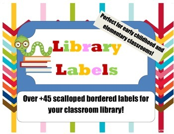 Classroom Library Labels with Scalloped Polka-dot Border