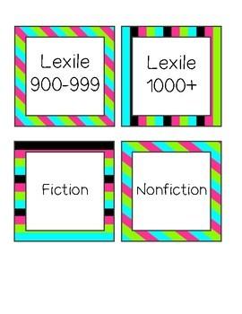 Striped Neon Book Bin Labels