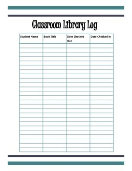 Classroom Library Log Sheet