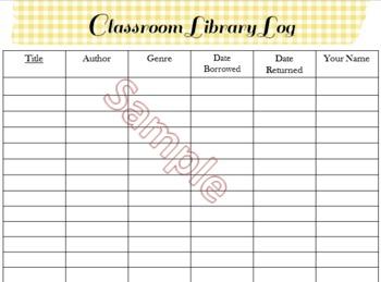 Classroom Library Log Sheets