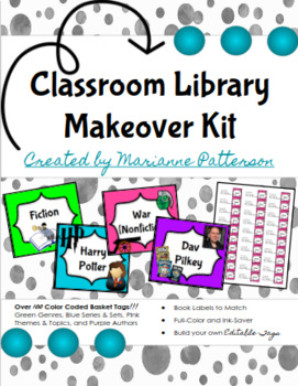 Classroom Library Makeover Kit - Tags, Labels, Editable!
