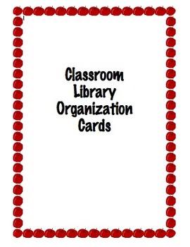 Classroom Library Organization Cards