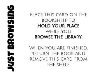 Classroom Library Organization: Check-out and Browsing Cards