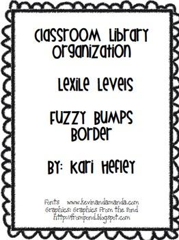Classroom Library Organization - Lexile levels - fuzzy bump border