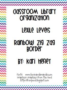 Classroom Library Organization - Lexile levels - rainbow zig zag