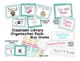 Classroom Library Organization Pack - Blue Shade Backgrounds