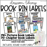 Classroom Library Book Bin Labels - Picture and Chapter Books with Stickers