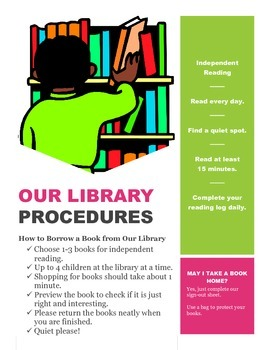 Classroom Library Poster and Independent Reading Procedures