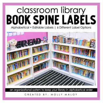 classroom library rainbow book spine labels by molly maloy tpt