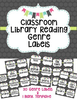 Classroom Library Reading Genre Labels
