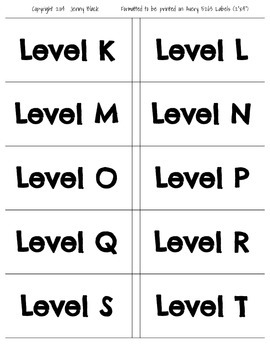 Classroom Library Reading Level Labels