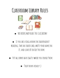 Classroom Library Rules Poster