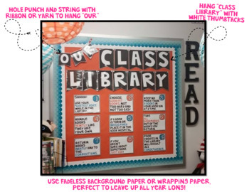 Classroom Library Rules [White & BRIGHTS] >> EDITABLE!