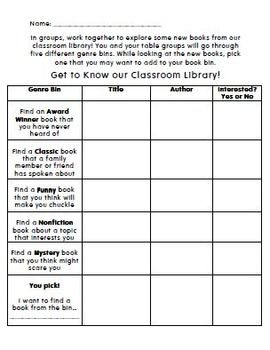 Classroom Library Scavenger Hunt