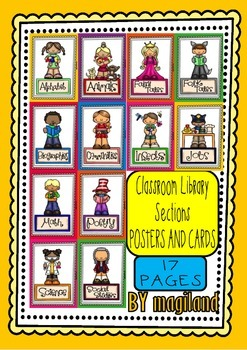 Classroom Library Sections (12 Posters and 12 Cards)