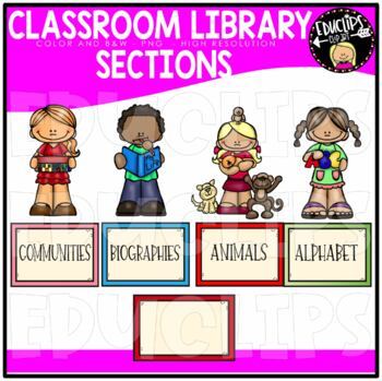 Classroom Library Sections Clip Art Bundle {Educlips Clipart}