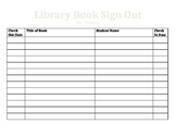 Classroom Library Sign Out Sheet (editable)