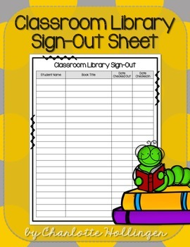 Classroom Library Sign-Out Sheet
