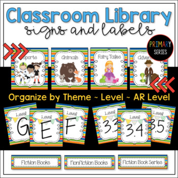 Classroom Library Signs & Labels for Book Bins and Books PRIMARY