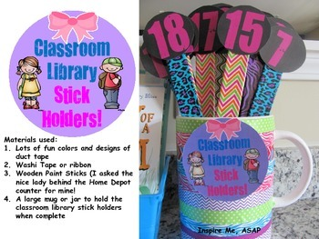 Classroom Library Stick Holders Freebie!