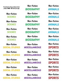 Classroom Library Spine Labels (By genre)