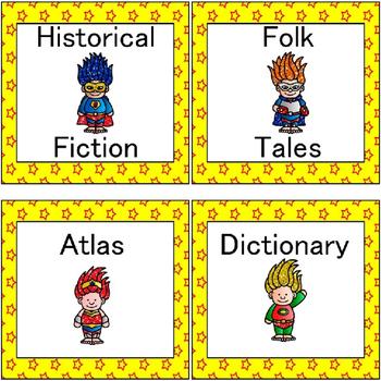 Classroom Library Superhero Labels