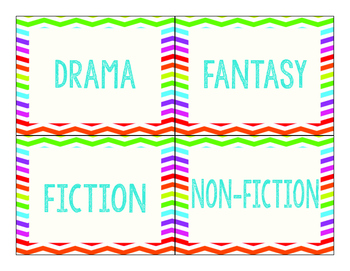 Classroom Library by Genre Labels