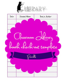 Classroom Library check-out template printable