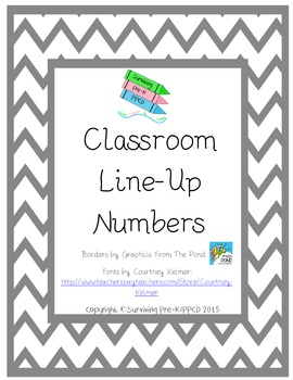 Classroom Line Up Numbers - Pink & Gray Chevron