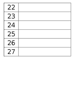 Classroom List Template (Number Order)