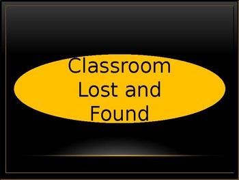 Classroom Lost and Found Crate Label - Black & Gold