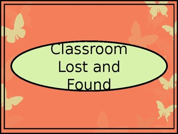 Classroom Lost and Found Crate Label - Coral Butterfly Theme