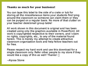 Classroom Lost and Found Crate Label - Lime & Teal - 2 Styles