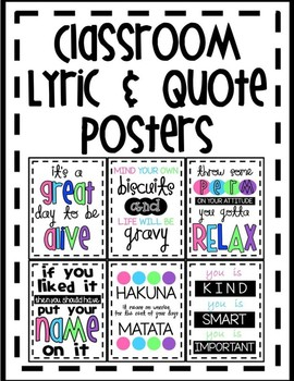Classroom Lyric & Quote Posters
