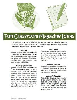 Classroom Magazine Comprehension Activities for Time or Scholastic News