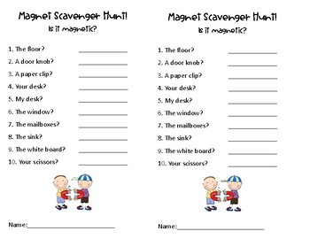 Classroom Magnet Scavenger Hunt