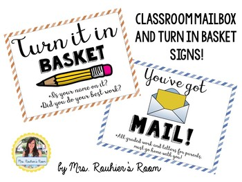 Classroom Mailbox and Turn in Basket Signs