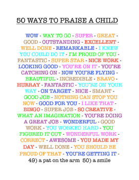 Classroom Management - 50 Ways to Praise a Child - from Spike Classroom