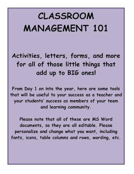 Classroom Management Activities, Forms, and Ideas