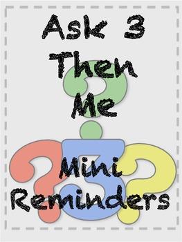 Classroom Management  - Ask 3 Then Me: Mini Reminders