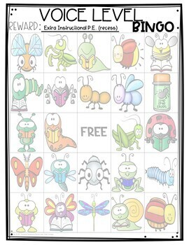 Classroom Management BINGO Book Bugs Edition