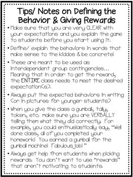 Classroom Management / Behavior Intervention Printables & Resources