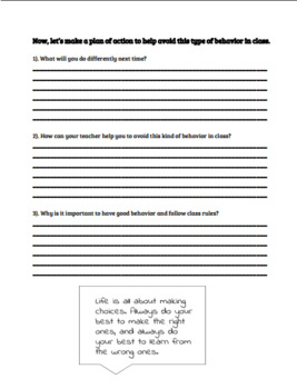 Classroom Management Behavior Reflection for Students