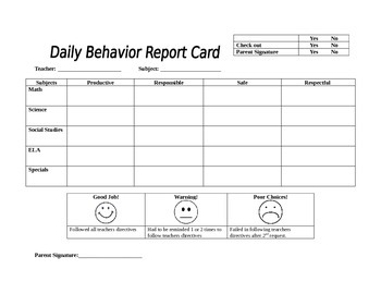 Classroom Management Behavior Report for Pre-k through 3rd grade