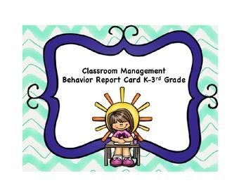 Classroom Management Behavior Report for Pre-k through 3rd grade